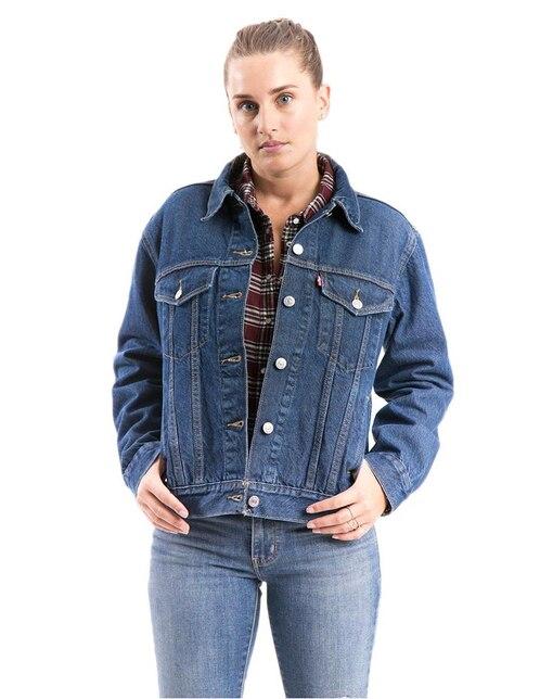 835811e7a Chamarra lisa Levi s algodón azul medio